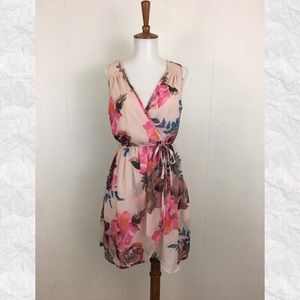 Band of Gypsies Crossover V-Neck Floral Mini Dress